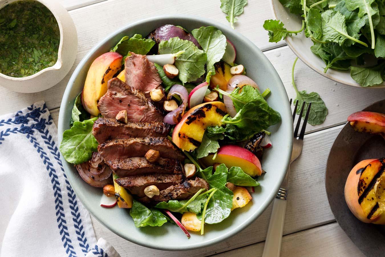 Grilled steak salad with peach