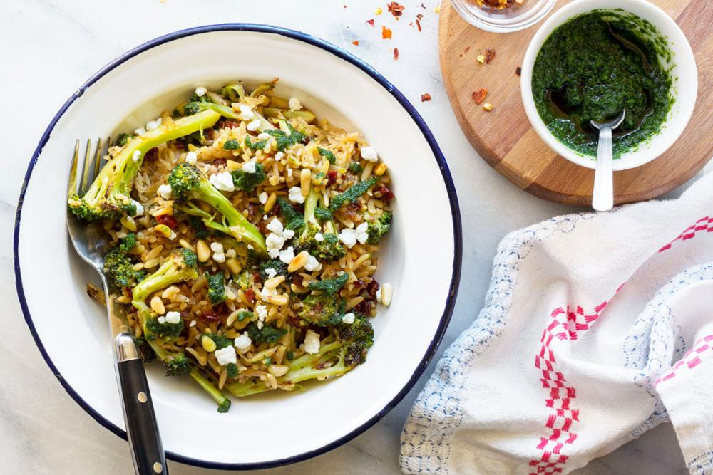 Orzo bowls with broccoli, sun-dried tomatoes, and pistou