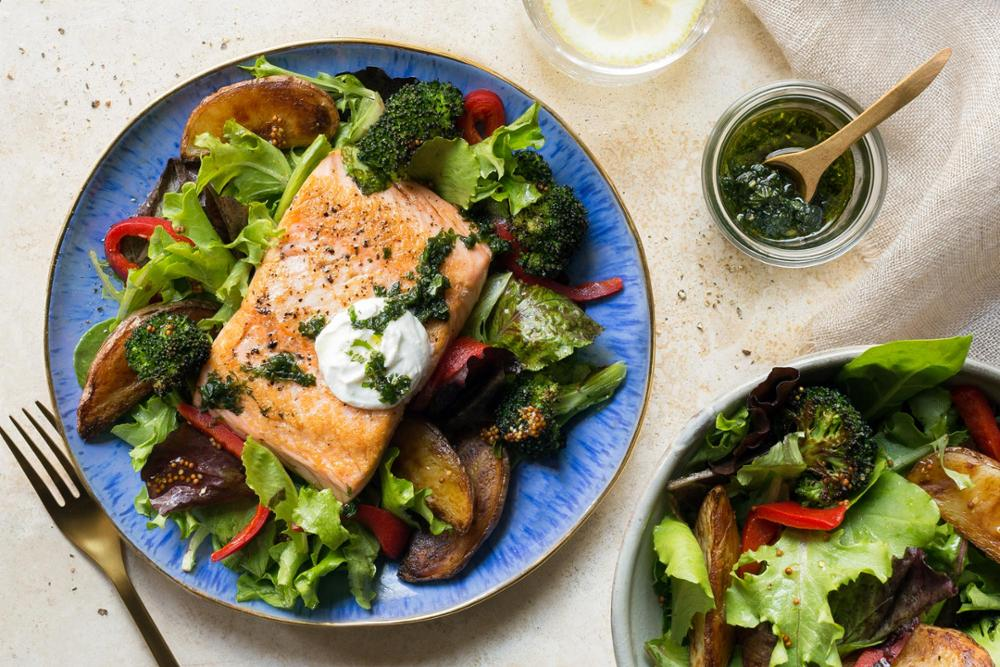 Salmon with roasted new potatoes and charred broccoli